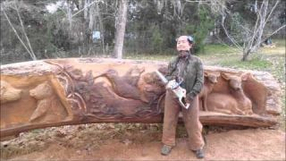 Aya Blaine, Chainsaw carving Artist, the James Log Project