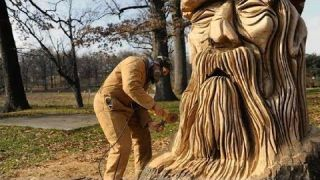Amazing Fastest Skill Wood Carving With Chainsaw - Extreme Fast Woodworking Skills